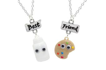 (Milk Bottle & Rainbow Biscuit) - Bluebubble BFF Googly Eyes Necklace Set With FREE Gift Box