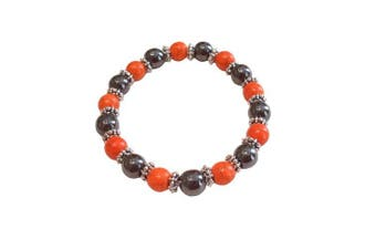 (Synthetic Orange) - Colourful 8mm Magnetic Hematite Healing Stretch Bracelet Arthritis Migraines Headaches - Choice of Colour - Approx 19cm