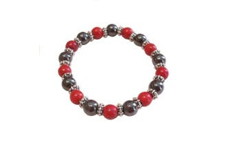 (Synthetic Red) - Colourful 8mm Magnetic Hematite Healing Stretch Bracelet Arthritis Migraines Headaches - Choice of Colour - Approx 19cm