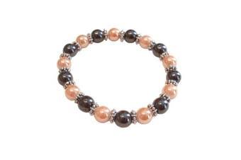 (Shiny Bisque) - Colourful 8mm Magnetic Hematite Healing Stretch Bracelet Arthritis Migraines Headaches - Choice of Colour - Approx 19cm