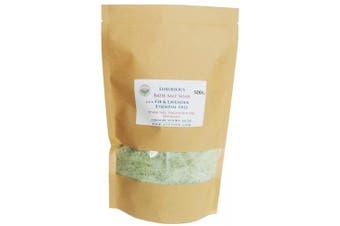 (500g) - ATTIS Luxurious Bath Salt Soak with Fir & Lavender Essential Oils, Magnesium Oil, Epsom Salt, Spirulina | Vegan | Hand made | Relaxing | Refreshing | Calming (520ml)