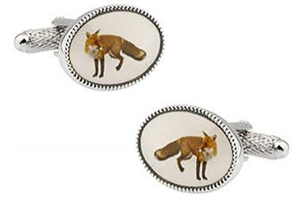 Ashton and Finch Oval Sly Fox Cufflinks in a FREE Luxury Presentation Box. Novelty Shooting Animal Theme Novelty