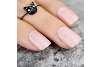 EchiQ Baby Pink Short False Nails Tips Light Pink with Shimmer Glitter Full Cover Artificial Fake Nail for Home Office faux ongles