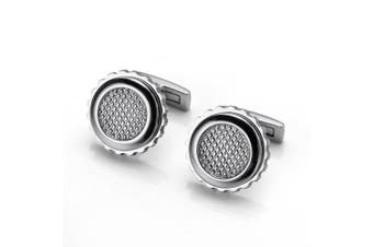 (Circle Silver) - A.P. Donovan Stainless Steel Cufflinks - for Special Occasions (Different Models for The Shirt) - Elegant Design for Wedding