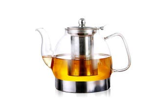ALIXIN CT008 High Borosilicate Glass Heat Resistant Stainless Steel Infuser Induction Cooker Round Tea Pot ,Perfect for Soak Tea and Coffee.Coffee Tea Pot Glass Teapot Loose leaf.1200ML