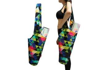 (Triangle) - Aozora Yoga Mat Bag | Yoga Mat Tote Sling Carrier with Large Side Pocket & Zipper Pocket | Fits Most Size Mats