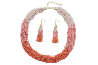 (pink+orange) - BOCAR Multi Layer Beaded Statement Necklace Set Ocean Blue Strand Necklace and earrings for Women Gift