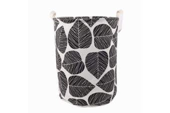 (Black and White) - Songsongstore 50cm Large Sized Waterproof Foldable Laundry Hamper Bucket,Dirty Clothes Laundry Basket, Bin Storage Organiser for Toy Collection,Canvas Storage Basket with Stylish Leaf Design(Black)