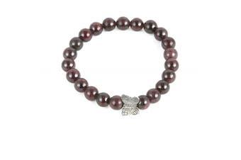 Aatm Reiki Energised natural gemstone 7-8mm Round Beads Butterfly beaded Garnet Bracelet Crystal Gemstone Chakra Stretch Bracelet Unisex For Healing