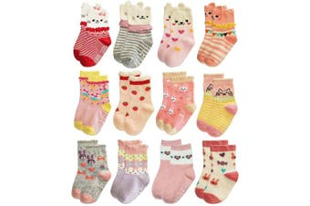 (12-24 Months, 12 Designs/Rg-82021) - RATIVE RG-82021 Non Skid Cotton Crew Socks With Grips For Baby Toddler Girls