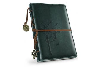(Green-Lined) - Refillable Writing Journals,Vintage Faux Leather Bound Notebook for Women with Lined Paper,Daily Use Gifts for Teachers/Girls/Travellers/Bloggers-Tree of Life Small A5