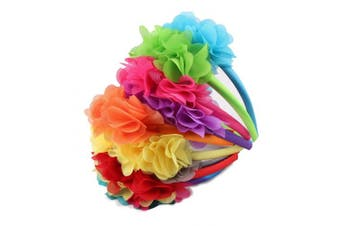 (9pcs Bright Colors) - Candygirl Alice Band Flower Headband Girl Wedding Festival Parties Floral Hairband (Bright Colours)