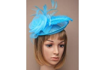 (Blue) - Ladies Net And Hessian Hat On Alice Band Fascinator 7 Colours