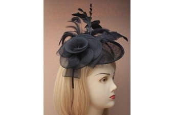 (Black) - Ladies Net And Hessian Hat On Alice Band Fascinator 7 Colours