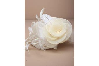 (Cream) - Ladies Net And Hessian Hat On Alice Band Fascinator 7 Colours