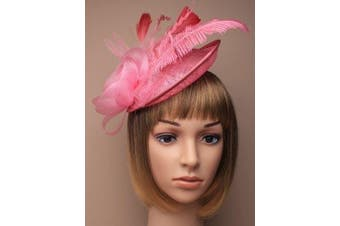 (Pink) - Ladies Net And Hessian Hat On Alice Band Fascinator 7 Colours