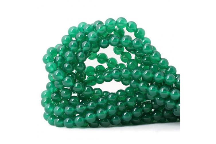 """(8mm, Green agate) - Qiwan 45PCS 8mm Smooth surface Green Onyx Agate Round Loose Beads Energy Stone for Jewellery Making 1 Strand 15"""""""