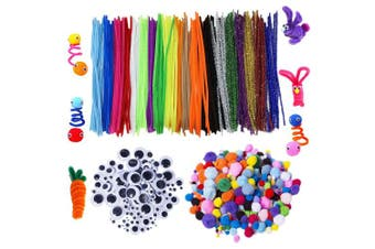 (600 Pcs Diy Set) - Acerich 600 Pcs Assorted Colours Pipe Cleaners Set, Including 200 Pcs 20 Colours Craft Chenille Stems, 150 Pcs 6 Size Wiggle Googly Eyes and 250 Pcs Multi Sized Pompoms for DIY Art Supplies