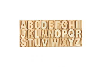 78-Piece Set Wooden Letters - Wooden Craft Letters with Storage Tray - Wooden Alphabet Letters for Home Decor, Natural Colour, 5.1cm