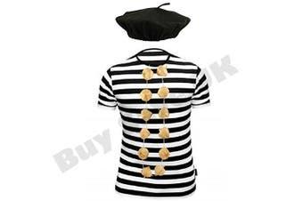 (10-12 years) - Childrens Kids French T Shirt, Beret Hat & Garlic Garland Fancy Dress Costume (10-12 years)