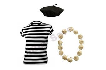 (7-9 years) - Childrens Kids French T Shirt, Beret Hat & Garlic Garland Fancy Dress Costume (7-9 years) by Blue Planet Online