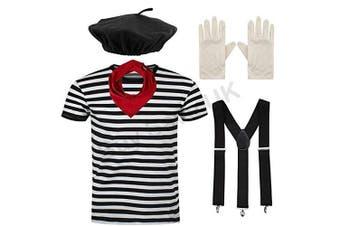 "(Large 42-44"" Chest) - Blue Planet Fancy Dress ® COMPLETE Mens French Mime Artist Costume Striped T Shirt, Beret, Scarf, Braces & Gloves (Large 110cm - 110cm Chest)"