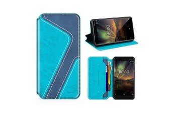 (Aqua/Dark Blue) - MOBESV Smiley Nokia 6 2018 Wallet Case, Nokia 6.1 Leather Case/Phone Flip Book Cover/Viewing Stand/Card Holder for Nokia 6.1 / Nokia 6 2018, Stylish Aqua/Dark Blue