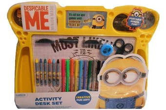 Anker Despicable Me Minions Activity Desk Set Includes Loads of Accessories inc Felt Tips, Crayons, Standees, Scissors, Sharperner and more