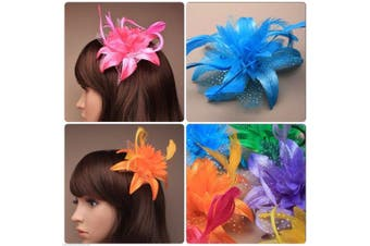 (Blue) - Feather Flower Fascinator On A Beak Forked Hair Clip With Brooch Pin