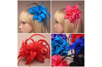 (Blue) - Fabric Flower Coloured Fascinator On A Forked Beak Clip