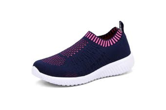 (4 UK, Navy) - TIOSEBON Women's Athletic Shoes Casual Mesh Walking Sneakers - Breathable Running Shoes