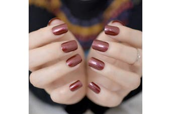 EchiQ Red Wine False Nails Tips Solid Colour Square Full Cover Nail Tips Artificial False Fake Nails DIY Salon
