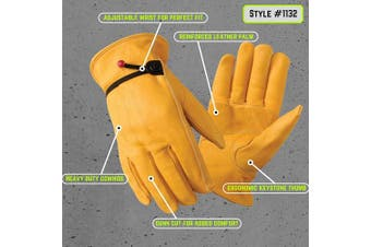 (XXL) - Leather Work Gloves with Ball and Tape Wrist Closure, Grain Cowhide, XX Large (Wells Lamont 1132XX)
