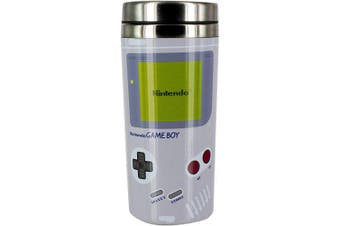(9 x 9 x 18 cm) - Nintendo Gameboy Travel Mug, Stainless Steel|Reuseable Commuter Cup | Insulated Coffee & Tea Flask | Easy Clean | Keeps Drinks Hot | 450ML Capacity | Spill & Leak Proof