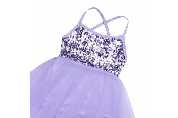 (9-10, Purple) - TiaoBug Girls Sequined Camisole Ballet Dance Tutu Dress Sweetheart Leotard