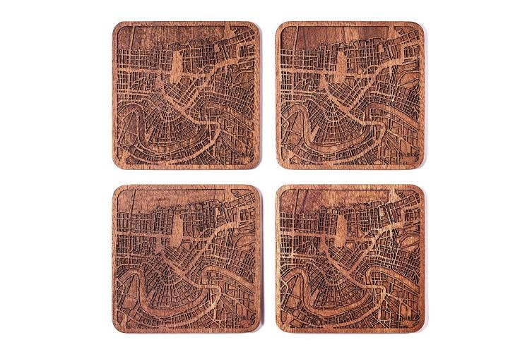 (New Orleans) - New Orleans Map Coaster, Set Of 4, Sapele Wooden Coaster With City Map, Handmade