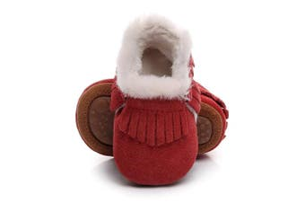 (12-18m/13cm , Red) - HONGTEYA Baby Moccasins with Fur Fleece Rubber Soles Warm Snow Boots Leather Baby Shoes for Boys Girls
