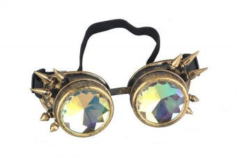 (One Size, Brass(Spikes)) - FLORATA Kaleidoscope Rainbow Steampunk Goggles Crystal Lenses Welding Eye Protect Vintage Glasses