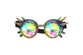 (One Size, Colorful(Spikes)) - FLORATA Kaleidoscope Rainbow Steampunk Goggles Crystal Lenses Welding Eye Protect Vintage Glasses