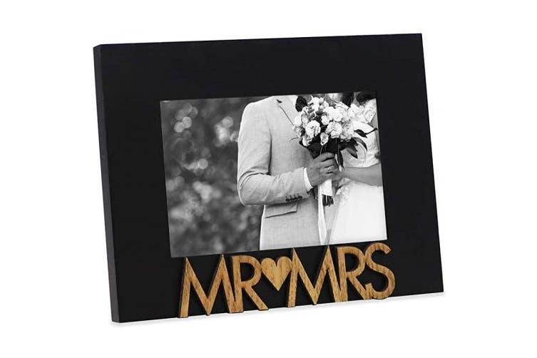 "(""Mr&Mrs"" 10cm  x 15cm , Black) - Isaac Jacobs Black Wood Sentiments ""Mr & Mrs"" Picture Frame, 10cm x 15cm , Newlywed Photo Gift for Wedding, Display on Tabletop, Desk (Black, 4x 6)"