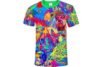 (X-Small, Leopard Africa) - aofmoka Ultraviolet Fluorescent Handmade Art Neon Blacklight Reactive Print T-Shirt