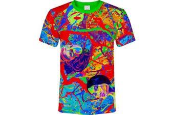 (Large, Splash Faces) - aofmoka Ultraviolet Fluorescent Handmade Art Neon Blacklight Reactive Print T-Shirt