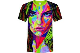 (Medium, Strong Lips) - aofmoka Ultraviolet Fluorescent Handmade Art Neon Blacklight Reactive Print T-Shirt