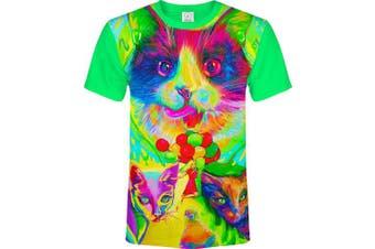 (Large, Baloon Cats) - aofmoka Ultraviolet Fluorescent Handmade Art Neon Blacklight Reactive Print T-Shirt