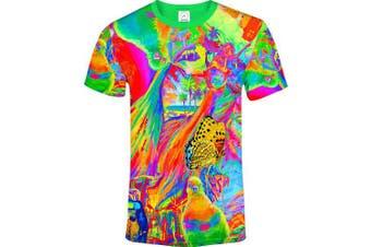 (Large, Dream Away) - aofmoka Ultraviolet Fluorescent Handmade Art Neon Blacklight Reactive Print T-Shirt