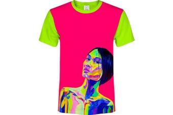 (X-Small, Pink Fancy) - aofmoka Ultraviolet Fluorescent Handmade Art Neon Blacklight Reactive Print T-Shirt