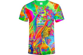 (X-Small, Dream Away) - aofmoka Ultraviolet Fluorescent Handmade Art Neon Blacklight Reactive Print T-Shirt