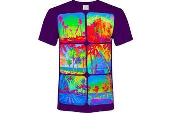(Medium, Square Circle) - aofmoka Ultraviolet Fluorescent Handmade Art Neon Blacklight Reactive Print T-Shirt
