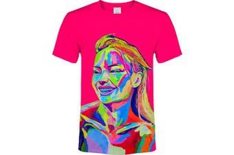 (X-Small, Top One Pink) - aofmoka Ultraviolet Fluorescent Handmade Art Neon Blacklight Reactive Print T-Shirt