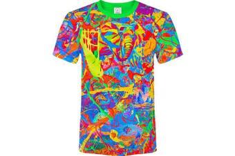 (X-Small, Elegant Elephant) - aofmoka Ultraviolet Fluorescent Handmade Art Neon Blacklight Reactive Print T-Shirt